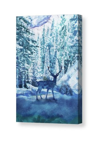 Deer In The Winter Forest Watercolor