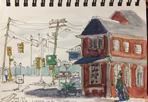 "Daily Drawing 413 ""Liberty in the Morning"" 5 x 8 ink&watercolor"