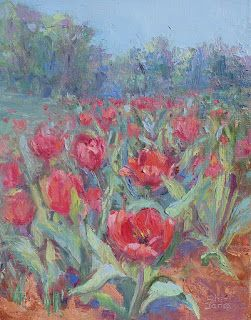 A Tulip Event, Contemporary Floral Landscape Painting by Sheri Jones