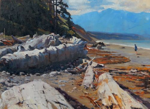 """""""Dungeness Tideline"""" Northwest coastal landscape painting by Robin Weiss"""