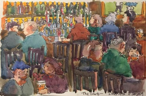 """Daily Drawing 495 """"The Snug"""" - 5 x 9 ink & watercolor"""