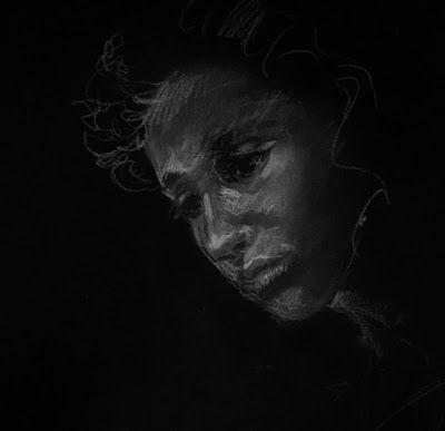 In the Dark - portrait sketch of the model with white pencil on black paper