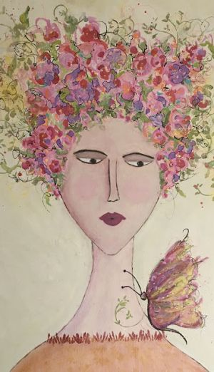 """Contemporary Abstract Expressionist Portrait Painting """"BUTTERFLY KISSES"""" by Abstract Artist Pamela Fowler Lordi"""