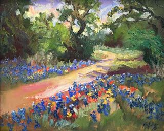 "New ""Texas Trails"" Bluebonnet Oil Painting by Contemporary Impressionist Niki Gulley"