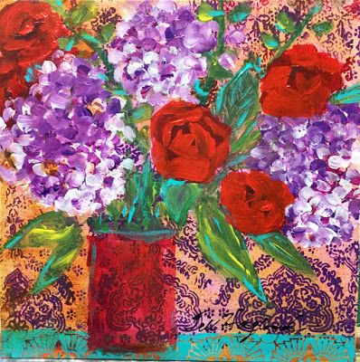 "Expressive Still Live Floral Painting, Colorful Original Flower Art, ""FLORAL TAPESTRY "" by Texas Contemporary Artist Jill Haglund"