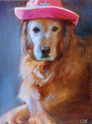 "Pet portrait, Dog Portrait Painting, Golden Retriever, Fine Art ""Kaela"" by California Artist Cecelia Catherine Rappaport"
