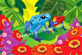 "Children's Art Illustration, Frog Painting ""POISON DART FROG"" by Nancee Jean Busse Artist, Fruita Children's Discovery Center"