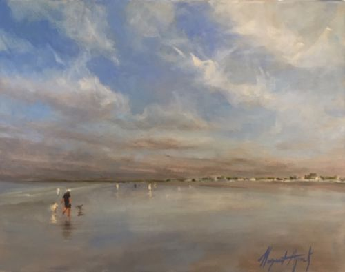 Dog Day at the Beach 16x20 oil on canvas Margaret Aycock