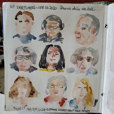 Direct Watercolor 17 - Artists on a Zoom Meeting