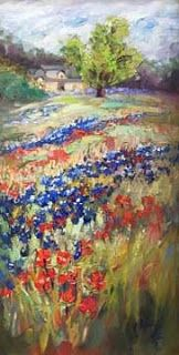"""Waves of Wildflowers"" Texas Bluebonnet Painting by Niki Gulley"