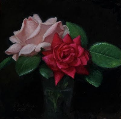 """June Roses"" Oil on 6x6 inch board"
