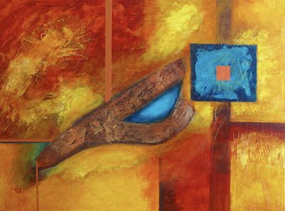 """Mixed Media Abstract Expressionism Painting, """"Desert Copper"""" by Contemporary Arizona Artist Pat Stacy"""