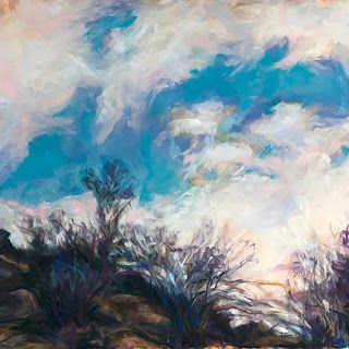 "WHITE + BLUE BACKDROP - 8"" x 8"" Southwest landscape by Susan Roden"