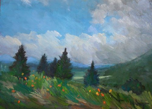 A Summer Day on the Blue Ridge Parkway, Small Oil Painting, Giclee Print on Canvas, Daily Painting