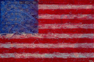 "Contemporary Abstract Mixed Media Art Painting,""US Flag-Map"" by Contemporary Artist Brian Billow"