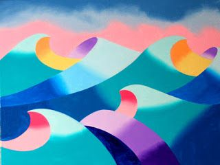 Mark Webster - Abstract Geometric Ocean Seascape Oil Painting