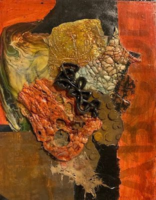 "Abstract Mixed Media Art, Contemporary Painting, ""DESIGN IN TEXTURE AND WARMTH"" by Florida Contemporary Artist Mary Ann Ziegler"