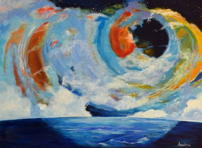 "Original Contemporary Seascape Painting ""Perfectly Rational Spin"" by International Abstract Realism Artist Arrachme"