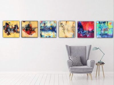 """Abstract Art Series, Contemporary Painting, Expressionism, Abstract Art, """"The Revolution -Six Piece Series"""" by Contemporary Expressionist Pamela Fowler Lordi"""