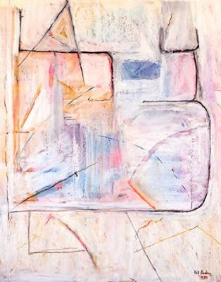 """Abstract Art, Expressionism Painting, Original Art """"Left Wing of the Castle"""" by Colorado Artist Kit Hedman, Boarding House Studio Galleries"""