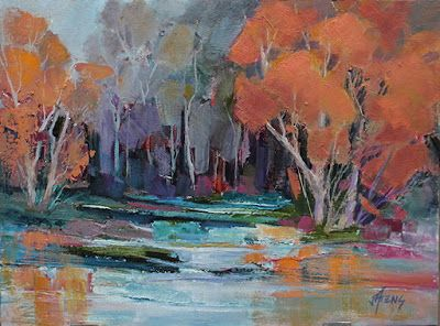 "Contemporary Impressionist Landscape Painting, Fine Art Oil Painting,""Sara's Pond"" by Colorado Contemporary Fine Artist Jody Ahrens"