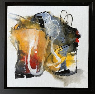 """Mixed Media Abstract Art """"Barely Contained"""" by Colorado Mixed Media Artist Carol Nelson Fine Art"""