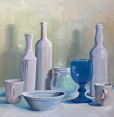 White Still Life with Blue Glass Goblet
