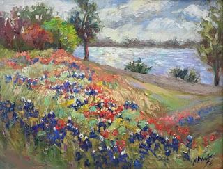 "New ""Springtime at White Rock Lake"" Bluebonnet Oil Painting by Niki Gulley"