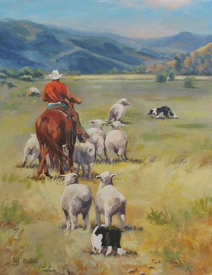 "Original Colorado Landscape Painting With Horse, Rider Sheep and Dog , ""High Country"" by Painter of the American West Nancee Jean Busse"