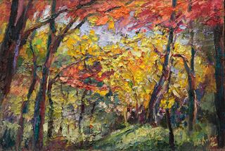 "New ""Exploring the Woods"" Palette Knife Painting by Contemporary Impressionist Niki Gulley"