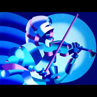 Mark Webster - The Violinist, Blue - Abstract Geometric Futurist Figurative Oil Painting