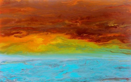 """Abstract Seascape Painting, Ocean, Contemporary Seascape, Red Sky """"Sunrise Reflections"""" by Colorado Contemporary Artist Kimberly Conrad"""