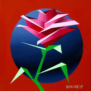 Mark Webster - Abstract Geometric Rose 3 Acrylic Painting