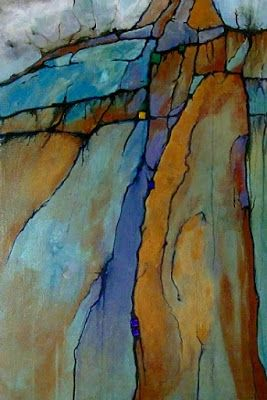"""Mixed Media Geologic Abstract Painting, Contemporary Art """"Ice Age"""