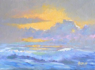 Sunrise on the Beach, 8x6 Original Oil on Canvas Seascape