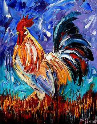 """Rooster Art Chicken Paintings Farm Animal Painting """"Another Day"""" Colorful by Debra Hurd"""