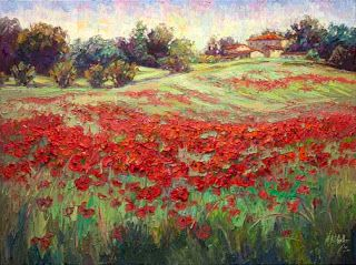 """""""Ruby Bouquet"""" Poppy Palette Knife Painting by Contemporary Impressionist Niki Gulley"""