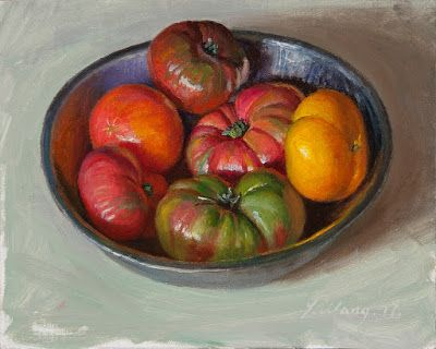 Tomatoes in a metal bawl still life daily painting a day