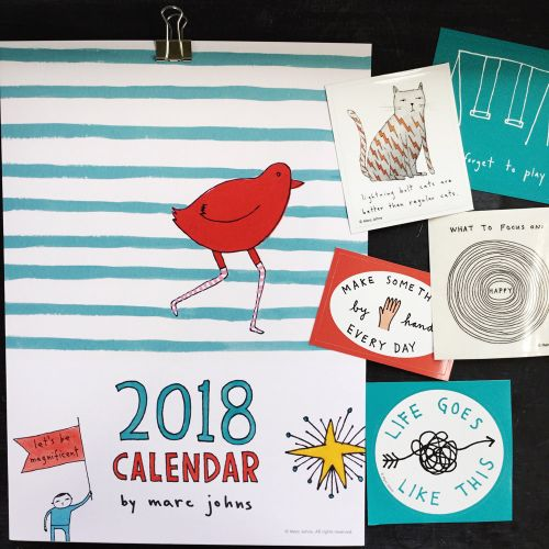 2018 wall calendar. and stickers!