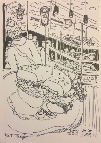 """Day 482 """"BLT Bagel"""" pen & ink - A little time in the local coffee shop"""