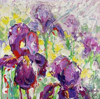 New Purple Iris Painting by Contemporary Impressionist Niki Gulley