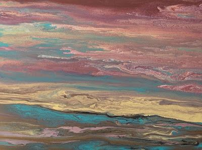 """Abstract Landscape, Sunrise Art Painting, Contemporary Landscape """"Soft Reflections"""" by International Contemporary Artist Kimberly Conrad"""