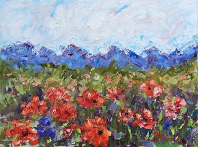 "Abstract Palette Knife Oil Poppy Flower Landscape Painting ""Picnic and Poppies"