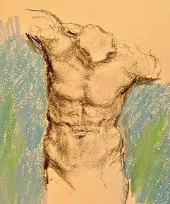 From an Ancient Torso - original mixed media figurative drawing