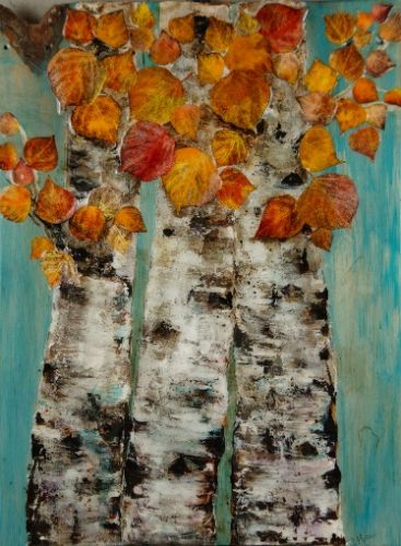 """""""Strength of Trees"""", Original Mixed Media Painting by Colorado Artist, Donna L. Martin"""