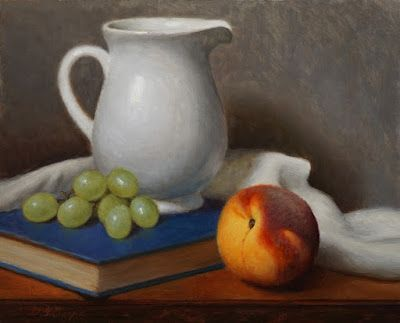 """Peach, Pitcher and Grapes"" Oil on 8x10 Linen board"