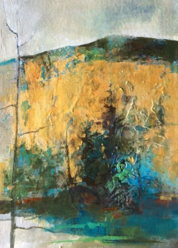 "Mixed Media Abstract Landscape Painting ""Autumn Gold"" by Intuitive Artist Joan Fullerton"