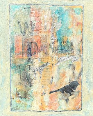 """Contemporary Mixed Media Abstract Bird Painting """"ALWAYS REMEMBERING"""" by Contemporary Expressionist Pamela Fowler Lordi"""
