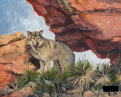 "Western Wildlife,Wolf Painting ""IN THE FOOTSTEPS OF THE ANCIENTS"" by Painter of the American West Nancee Jean Busse"