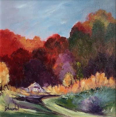Landscape Painting,Oil Painting, Trees, Barn